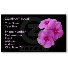 Pink Vinca Flowers Business Cards by birdersue from Zazzle - Digital photography and design by Sue Melvin
