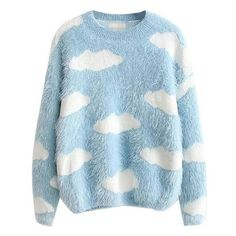 Fluffy Cloud Jumper ❤ liked on Polyvore featuring tops, sweaters, blue sweater, blue top, jumpers sweaters, blue jumper and jumper tops