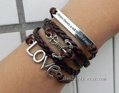 jewelry  Custom leather bracelet, love bracelet, anchor bracelet , letter incentive Bracelet on Etsy, $10.99
