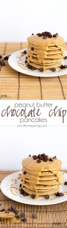 Peanut Butter Chocolate Chip Pancakes via @JennMeyering84