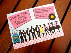 1950's Party Invitation Grease Inspired Pink by BlossomTreeDesigns, $15.00
