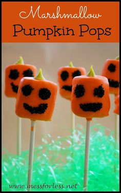 Food Fun Friday - Our Favorite Halloween Treat: Pumpkin Pops - Mess for Less Halloween Treats For Kids, Halloween Activities For Kids, Holidays Halloween, Holiday Treats, Halloween Crafts, Halloween Party, Party Treats, Halloween Night, Holiday Fun