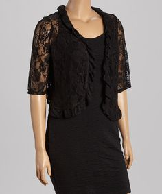 Another great find on #zulily! Black Sheer Lace Shrug - Plus by JM Studio #zulilyfinds