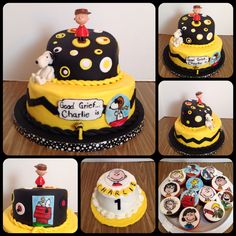 Charlie is one!!! Charlie Brown cake. But of course I HAD to make them all so matching cupcakes w all of the gang and a wee little 4 inch smash cake for bitty Charlie!!! I love to hand paint and I totally love making this cake.