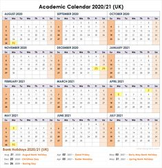 Academic calendar with federal, bank, public, national holiday list. Academic Calendar, 2021 Calendar, School Calendar, Spring Bank Holiday, August Bank Holiday, National Holiday List, Christian Holidays, Christian School, School Template