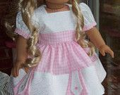 Doll dress, slip, and hair clip for 18 inch doll or American Girl doll.  Pink and white gingham with white contrast.