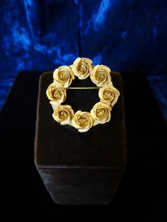 Vintage Round Brooch with Rose Detail
