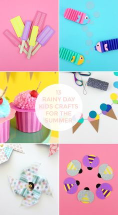 13 RAINY DAY KIDS CRAFTS FOR SUMMER Crafts For Teens, Diy For Kids, Diy And Crafts, Crafts For Kids, Paper Crafts, Summer Diy, Summer Crafts, Christmas Templates, Christmas Crafts