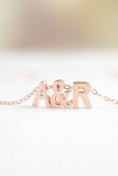 Rose Gold Love Necklace initial & initial....A&R I need this!