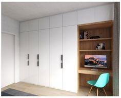 Built In Cupboards Bedroom, Bedroom Built In Wardrobe, Bedroom Cupboard Designs, Bedroom Closet Design, Bedroom Furniture Design, Built In Desk, Home Room Design, Home Office Design, Bedroom Built Ins