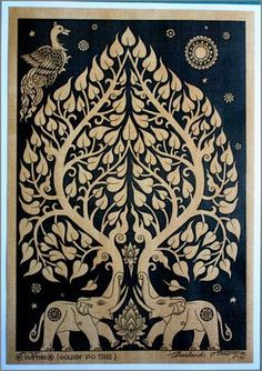 Kalamkari Painting, Madhubani Painting, History Of Buddhism, Art Thai, Bodhi Tree, Tree Tree, Art Premier, Gautama Buddha, Madhubani Art