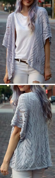 Free Knitting Pattern for Diamond Lace Kimono - This kimono style short sleeved cardigan is worked in one piece starting at the back. DK weight. One size. Designed by Kaitlin Blasing ofOriginally Lovely