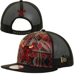 New Era Chicago Bulls Floral Chain Hardwood Classics Snapback Hat - Black