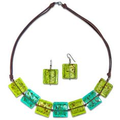 @WorldCrafts {Graceful Jewelry Set ~ The Well ~ Thailand} Foil-bead necklace and earring set made by women who have been set free from prostitution in Thailand. #fairtrade #set1free