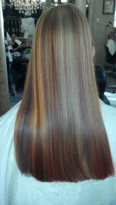 Copper brown and blonde hair colour, highlights by Justine Taitz Hair Colour, My Hair, Blonde Hair, Highlights, Copper, Hairstyle, Street Style, Fashion Outfits, Long Hair Styles