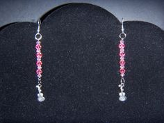Pink Crystal Guitars Earrings by OurBeadedCharms on Etsy, $7.00