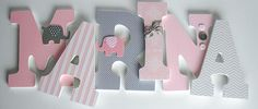 Pink and Grey Nursery Wooden Letters Elephant Theme Girl