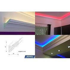 BENDU - Klassische und gleichzeitig moderne LED Stuckleisten bzw. Lichtvouten für indirekte Beleuchtung aus Hartschaum DBKL-82-PR. Ideal kombinierbar mit LED Band oder Lichtschlauch.