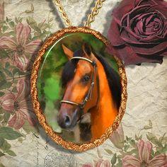 Bay Horse Warmblood Horse Jewelry Pendant by NobilityCatsandPets, $34.90