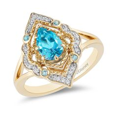 Enchanted pear-shaped Swiss blue topaz from Disney Aladdin and CT. Diamond arabesque frame ring in 10 carat gold, Blue Topaz Stone, Blue Topaz Diamond, Black Diamond, Fashion Rings, Fashion Jewelry, Fashion Accessories, Enchanted Disney Fine Jewelry, Disney Enchanted, Art Nouveau