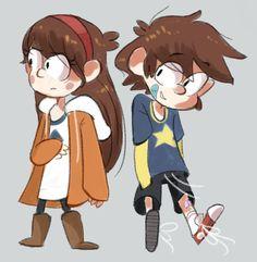 Dipper & Mabel. Con la personalidad cambiada. Uno de mis fandoms preferidos -Gravity Falls-
