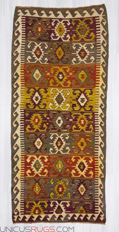 """Handwoven vintage kilim rug from Konya region of Turkey. In very good condition. Approximately 55-65 years old. Wool on wool Width: 3' 10"""" - Length: 8' 5""""  Colorful Kilims"""
