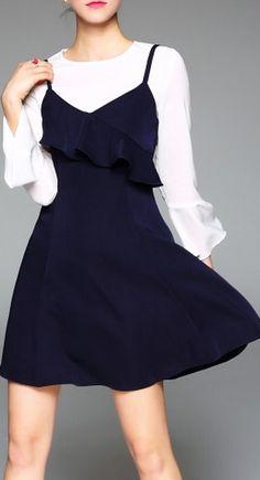 Dark Blue simple mini dress with White Balloon Sleeve Top.