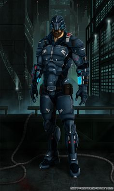 Futuristic Warrior, Future, Cyber, Helmet, Military, Armor, Cyberpunk by *DwarfVader23 on deviantART