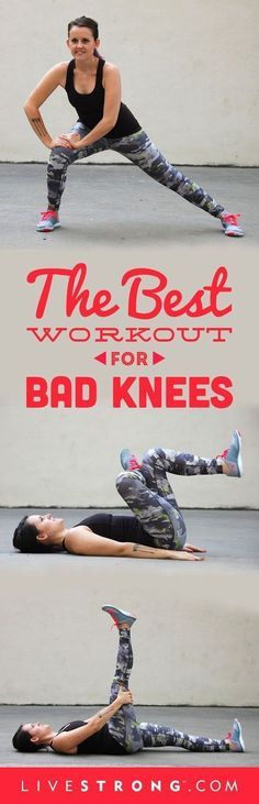 Try These 14 Knee-Strengthening Exercises Don't let bad knees slow you down.Don't let bad knees slow you down. Yoga Fitness, Sport Fitness, Workout Fitness, Workout Abs, Boxing Workout, Pilates, Natural Cure For Arthritis, Natural Cures, Natural Health