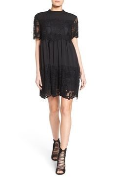 Free shipping and returns on KENDALL + KYLIE Lace Detail Babydoll Dress at Nordstrom.com. Bands of dramatic lace accent the bodice and hem of a crepe mock-neck dress detailed with plenty of shirring for an ultra-flowy babydoll silhouette. Sheer short sleeves finish this darkly romantic take on a must-have little black dress.Fusing the two Jenner sisters' distinct styles into a unified collection, KENDALL + KYLIE plays up both Kendall's more refined femininity and Kylie's dynamic edge.