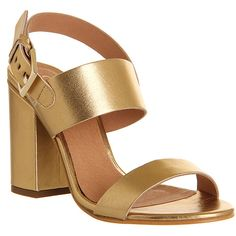 Office Garland Strappy Block Heel ($52) ❤ liked on Polyvore featuring shoes, sandals, heels, gold leather, mid heels, women, high heel sandals, mid-heel shoes, strappy heel sandals and strap sandals