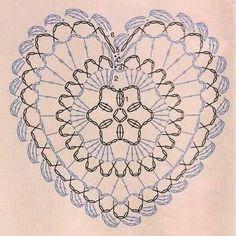 My home sweet home: Corazones tejidos a Crochet Crochet Diy, Filet Crochet, Crochet Motifs, Crochet Diagram, Crochet Chart, Crochet Squares, Crochet Home, Thread Crochet, Crochet Doilies