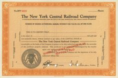 The New York Central Railroad Company ​- #scripomarket #scriposigns #scripofilia #scripophily #finanza #finance #collezionismo #collectibles #arte #art #scripoart #scripoarte #borsa #stock #azioni #bonds #obbligazioni