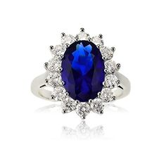Sterling Silver Oval Blue Sapphire and CZ Princess Diana/Kate Middleton Ring (Size 6) Available in sizes 6 through 9