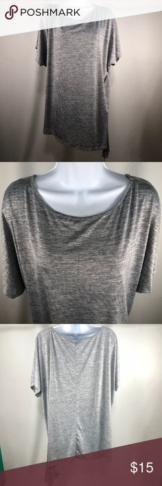 """Sag Harbor  Asymmetrica Hem Short Sleeves Brand: sag harbor  Tags size: 2X  Asymmetrical hem  Short sleeves  Crewneck  Color: gray  Measurements:  Bust: 55""""  Length: 28""""  Materials: polyester blend  Pre-Owned condition.Free from snags or holes. See last photo for light stain located on back right of top.  Inventory number: H21 Sag Harbor Tops Blouses"""