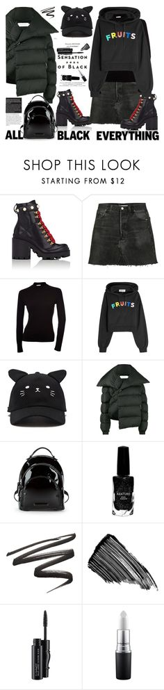 """""""Mission: All-Black Monochrome"""" by ellie366 ❤ liked on Polyvore featuring Vision, Gucci, RE/DONE, Être Cécile, Forever 21, Marques'Almeida, Kendall + Kylie, Azature, Sisley and MAC Cosmetics"""