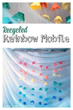 Recycled Rainbow Mobile: Made out of Egg Cartons. Simple and Easy, Can't wait to do this!