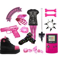 """""""Another pink and black set :3"""" by twisted-candy on Polyvore"""