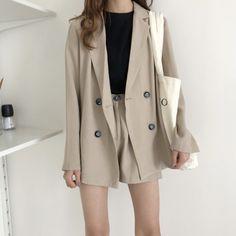 Summer women s wear, korean fashion casual suit, simple long sleeved suit jacket + Beige Blazer Outfit, Blazer And Shorts, Blazer Outfits, Blazer Fashion, Fashion Outfits, Fashion Shorts, Womens Fashion, Korean Fashion Casual, Korean Girl Fashion