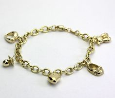 Made In Italy 14k Gold Rolo Link Charm Bracelet With Five Charms