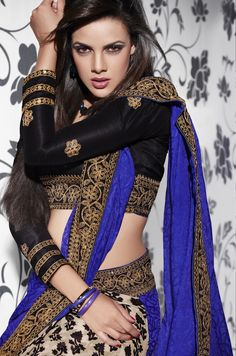Blusen Sari Electrifying blue with striking black.perfect choice for being the centre of attracti Bollywood Stars, Mode Bollywood, Bollywood Fashion, Indian Suits, Indian Attire, Indian Dresses, Indian Wear, Indian Style, India Fashion