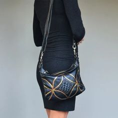Black handmade leather cross body bag with gold and leather woven details. Black Leather Crossbody Bag, Leather Handbags, Leather Weaving, Handmade Leather, Cross Body, Fashion Accessories, Closure, Zip, Gold
