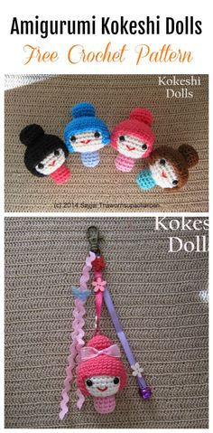 These Amigurumi Kokeshi Dolls Free Crochet Pattern looks so cute. You can decorate these little dolls with flowers, bows or ribbons. It's great as a gift or on a key-chain. Crochet Keychain Pattern, Crochet Patterns Amigurumi, Crochet Dolls, Crochet Hats, Kawaii Crochet, Love Crochet, Hand Crochet, Kokeshi Dolls, Matryoshka Doll