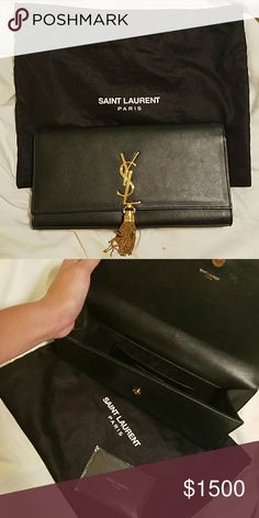 Auth saint laurent clutch Black authentic ysl clutch with dust bag and authenticity card offers welcome Yves Saint Laurent Bags Clutches & Wristlets
