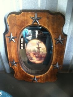 Upcycled vintage mirror, with western pic and added western star design.  By Upcycled Diva