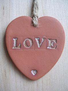 Terracotta Love Heart Hanging £3.00