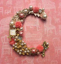 Jeweled letter monogram initial C