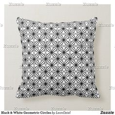 Shop Black White Modern Geometric Circles Throw Pillow created by LeonOziel. Custom Pillows, Decorative Throw Pillows, Geometric Circle, Repeating Patterns, Knitted Fabric, Circles, Your Design, Make It Yourself, Black And White
