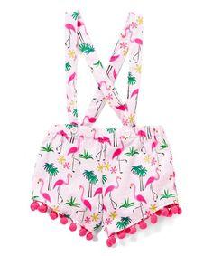 Pink Flamingo Pom-Pom-Accent Suspender Shorts - Infant & Toddler #zulily #zulilyfinds