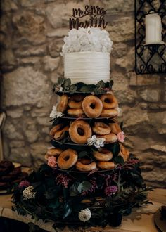 Donut Wedding Cake for Micro Wedding with Personalised Cake Topper | By Bates + Bates Photography | Micro Wedding | Intimate Wedding | Small Wedding | Highland Wedding | Scotland Wedding | Scottish Wedding | Boho Bride | Flower Crown for Bride | Groom in Kilt Donut Wedding Cake, Wedding Donuts, Wedding Cake Toppers, Wedding Dinner, Rustic Wedding, Wedding Decor, Scottish Wedding Cakes, Flower Crown Bride, Small Intimate Wedding